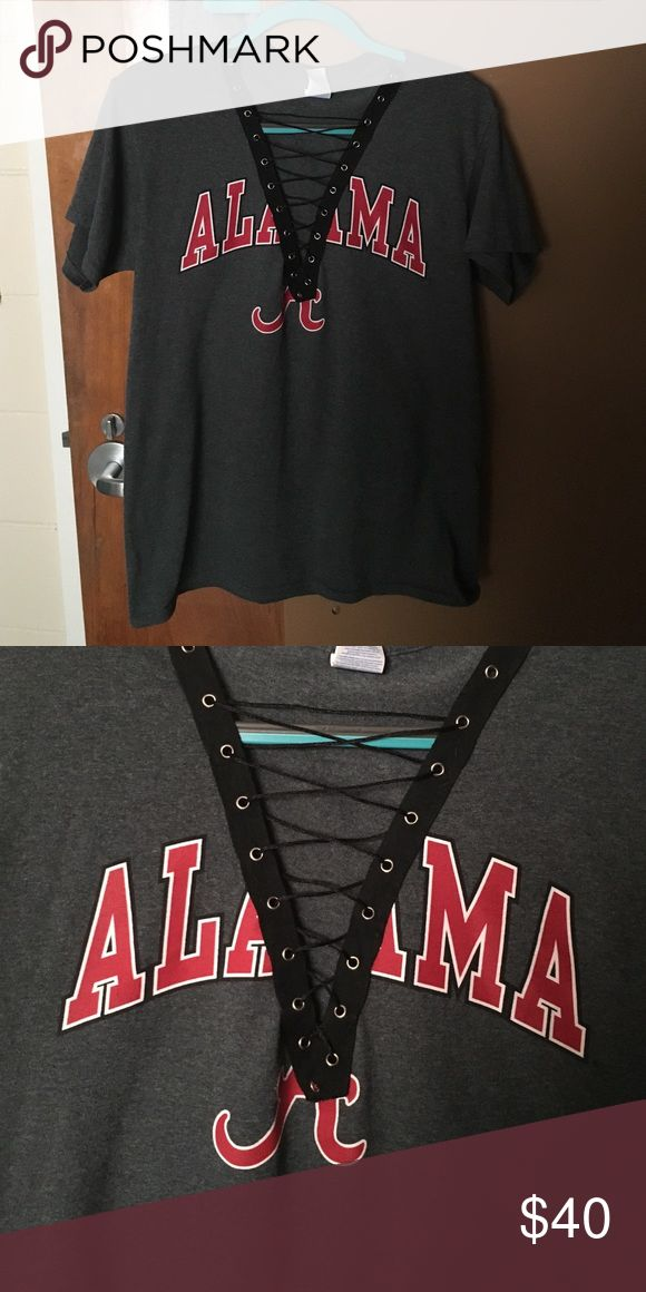 University of Alabama lace up tshirt Great look for a darty or away games! Not LF just tagged for views LF Tops Tees - Short Sleeve