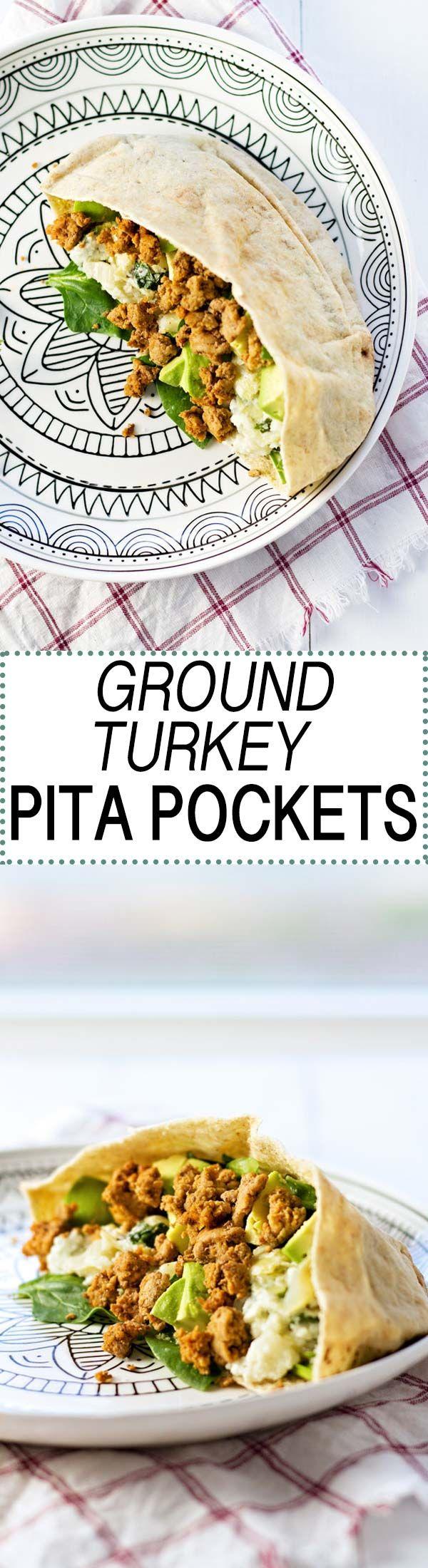 Ground Turkey Pita Pockets stuffed with spinach, avocado, and spinach artichoke dip!