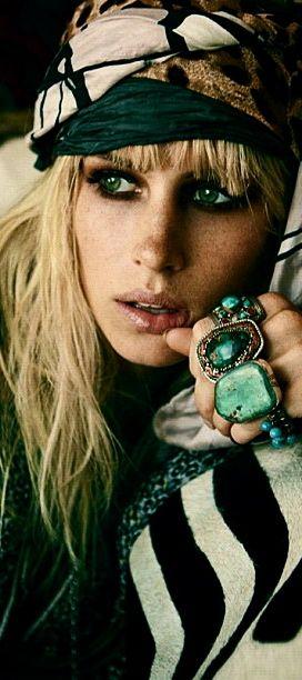 Bohemian gypsy. Chunky turquoise.