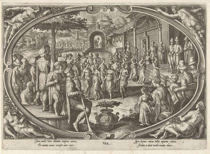 Philips Galle | Lente, Philips Galle, c. 1578 - c. 1582 | Centraal in een cartouche een afbeelding van een feest in de open lucht. Mensen dansen en spelen muziek in een grote tuin. In de achtergrond speelt men een spel. De prent heeft een Latijns onderschrift en maakt deel uit van een serie over de vier jaargetijden.