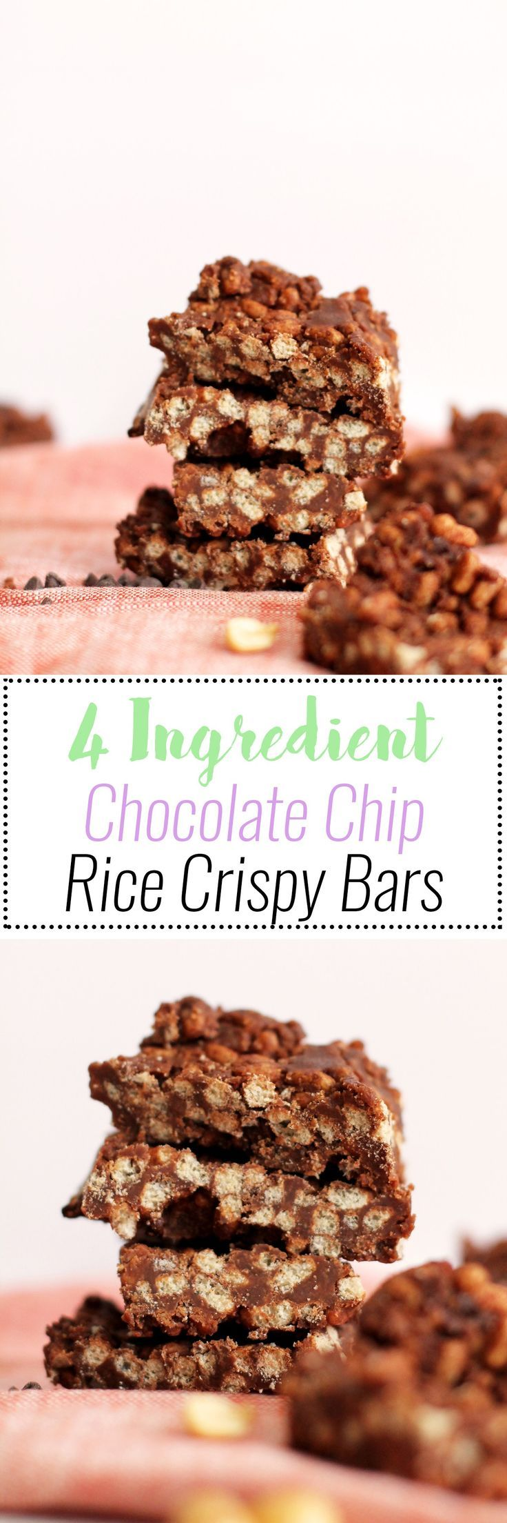 These Chocolate Rice Crispy Bars are four ingredients, full of flavor, and vegan! They come together in under an hour, taste amazing, and are filled with sweetness and chocolate.