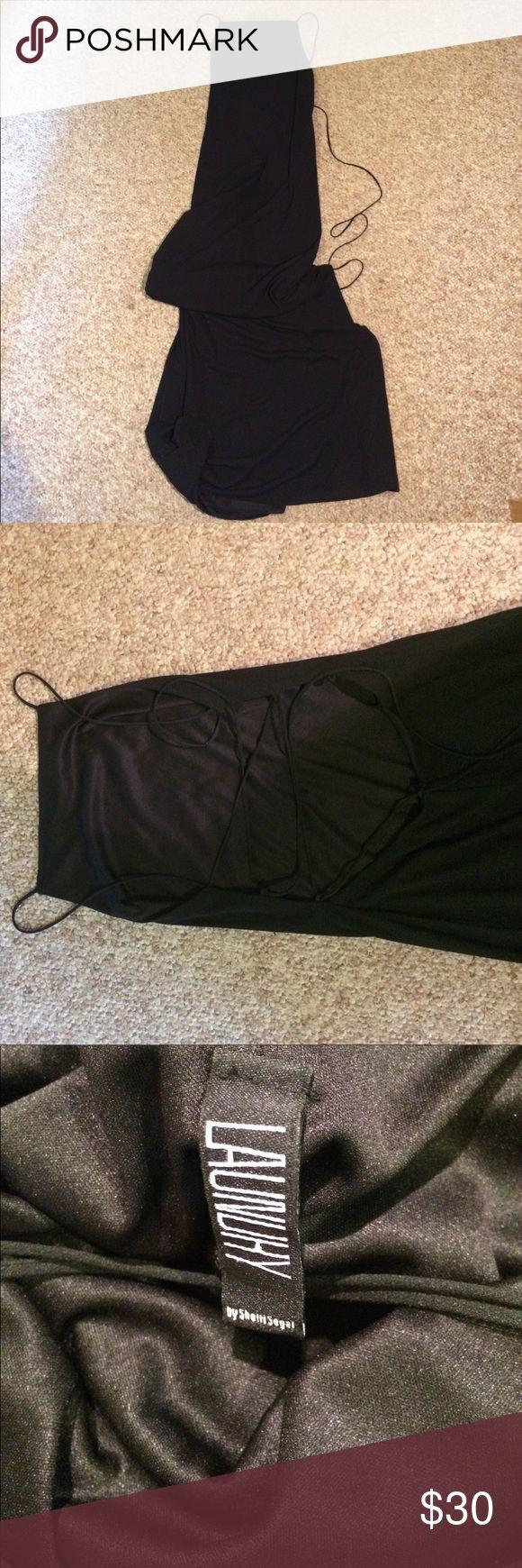 Laundry black apron front tie back dress Floor length apron front cross cross back dress. Size 2. Formal Laundry By Shelli Segal Dresses Maxi