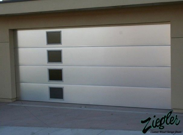Exterior Design, Cool Metal Glass Modern Garage Door With Small Modern  Windows Design Also Light
