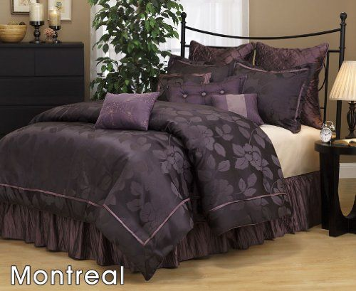 7 pieces dark purple jacquard lotus flower comforter set bedinabag - Purple Comforters