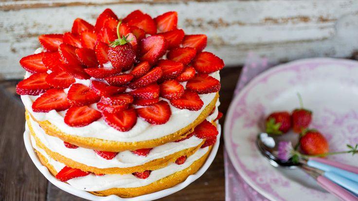 Lagkake - mascarpone-krem - jordbær