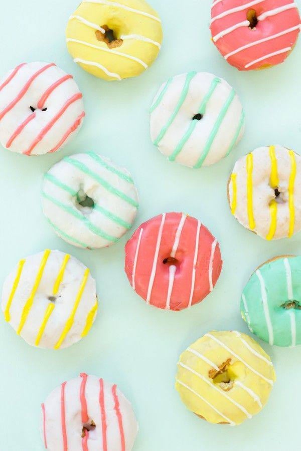 Can't wait to make these pink, yellow and blue striped donuts for breakfast.