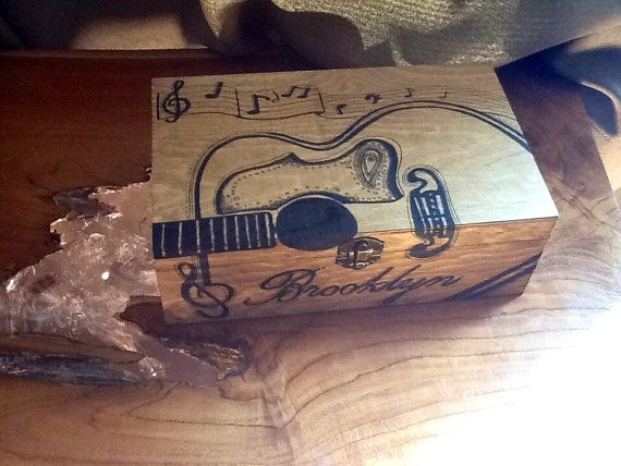 custom wood guitar keepsake box acoustic music notes lyrics personalized guy girl gift christmas. Black Bedroom Furniture Sets. Home Design Ideas