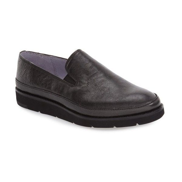 Women's Johnston & Murphy 'Paulette' Slip-On Sneaker ($158) ❤ liked on Polyvore featuring shoes, sneakers, black metallic leather, metallic shoes, leather slip-on shoes, leather slip on shoes, black leather trainers and black leather sneakers