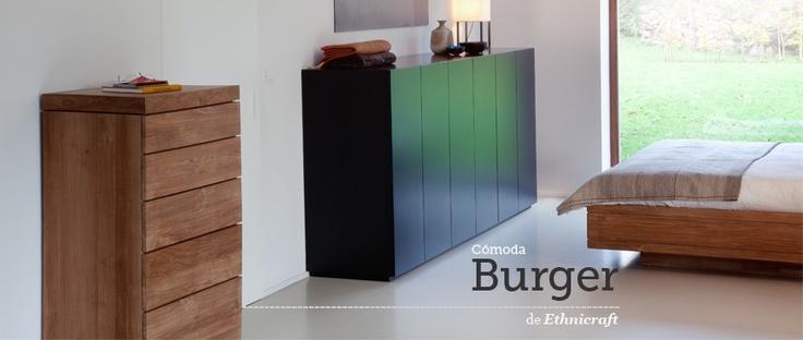 Cómoda para dormitorios Burger Teka chest of drawers de Ethnicraft con 5 cajones. Ecodesign. #comoda, #ethnicraft, #teka, #teca, #ecodesign, #chestofdrawers, #cajonera, #calaixera, #dormitorio, #tiroirs, #Schubladen, #drawers.
