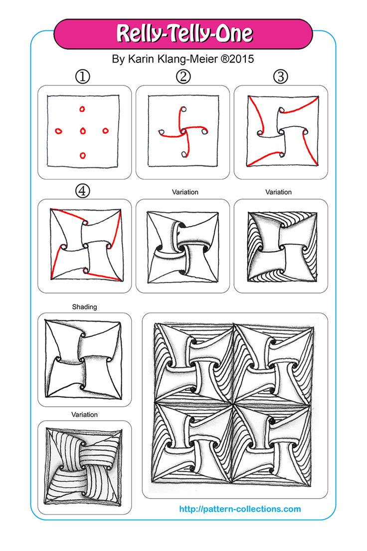 Relly-Telly-One tangle pattern Karin Klang-Meier  PatternCollections.com