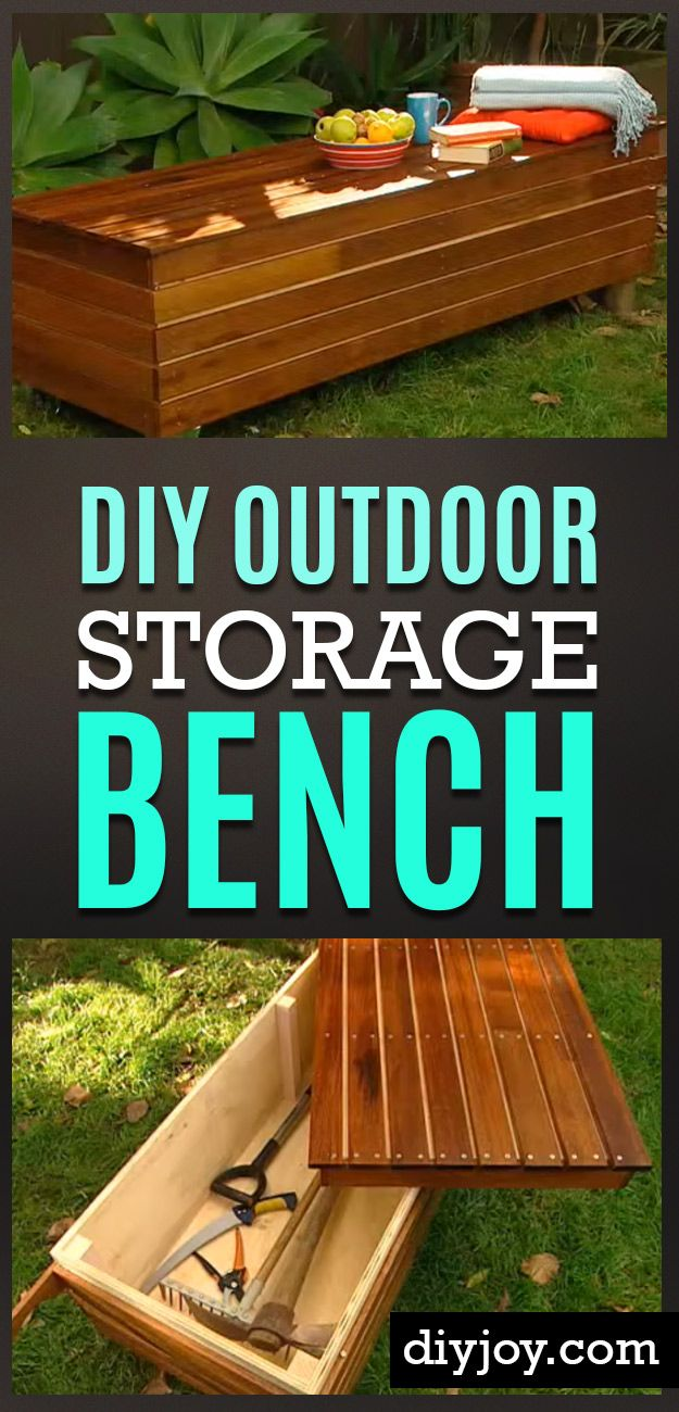 DIY Ideas to Get Your Backyard Ready for Summer - DIY-Outdoor-Storage-Bench- Cool Ideas for the Yard This Summer. Furniture, Games and Fun Outdoor Decor both Adults and Kids Will Enjoy