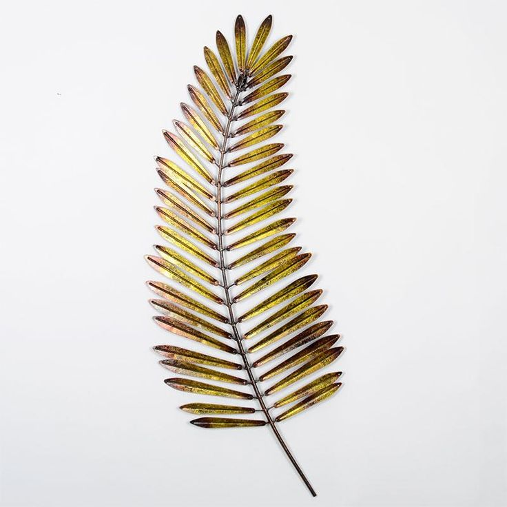 Metal palm leaf modern wall art this piece of wall art for Metal leaf wall art