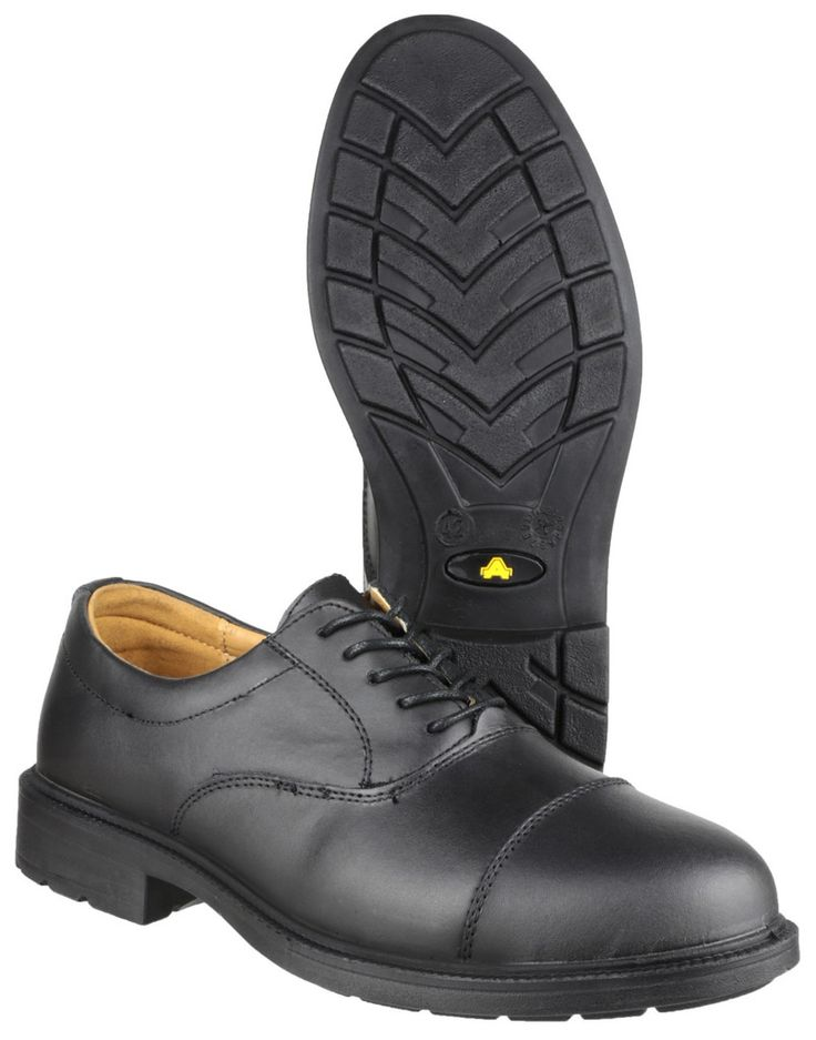 AMBLERS SAFETY - FS43 SAFETY SHOE - MENS - BLACK • Lace-Up Safety Shoe • Padded Collar • Dual Density PU Sole • S1-SRC Safety Rating • Conforms to ISO20345  Lace-Up Safety Shoe. Padded Collar. Dual Density PU Sole. S1-SRC Safety Rating. Conforms to ISO20345