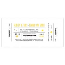 Trouwkaart: Modern Ticket