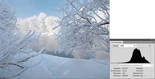 Рис. 5. Фотография зимнего пейзажа и ее гистограмма Зимний пейзаж — полная противоположность предыдущему примеру. Пик гистограммы смещен вправо (в область светов), и график имеет мало темных областей. Значения параметров Среднее (169,30) и Медиана (169) близки к максимальной яркости. Но, несмотря на показания гистограммы, данный снимок не требует коррекции, его яркость естественна.