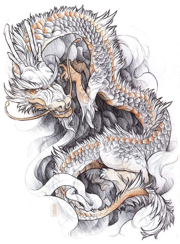 shigeki.zumi: tattoo sketchbook: 015 by fydbac.deviantart.com on @deviantART  #dragon #tattoos #tattoo