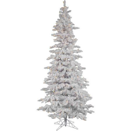 Vickerman Pre-Lit 7.5' Flocked White Slim Artificial Christmas Tree, LED, Warm White Lights