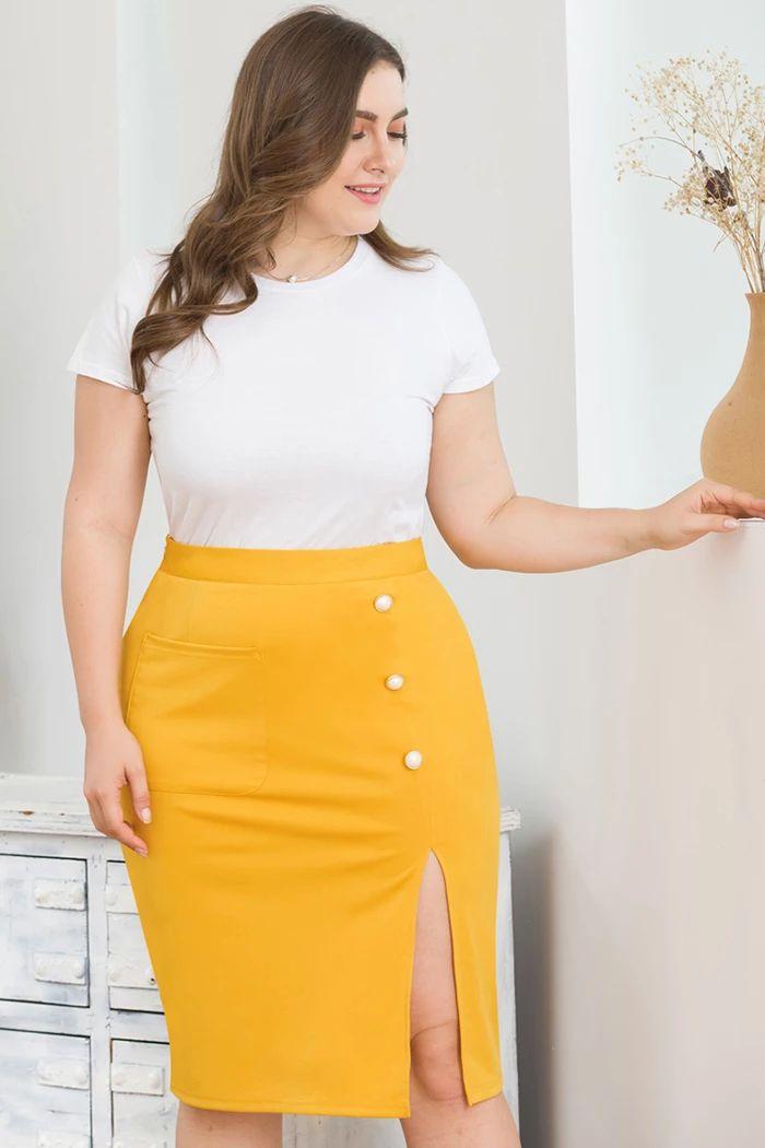 Plus Size High-waist Side Slit Skirt 3