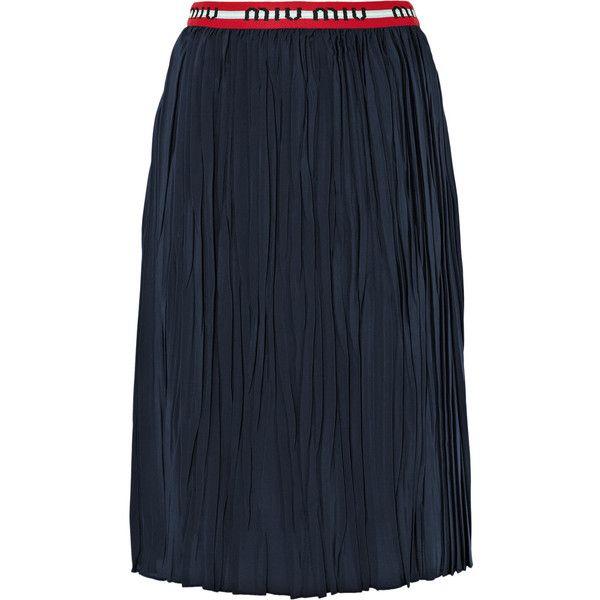 Miu Miu Striped plissé silk crepe de chine midi skirt ($1,200) ❤ liked on Polyvore featuring skirts, navy, navy blue knee length skirt, stripe midi skirt, striped midi skirts, below the knee skirts and navy striped skirt