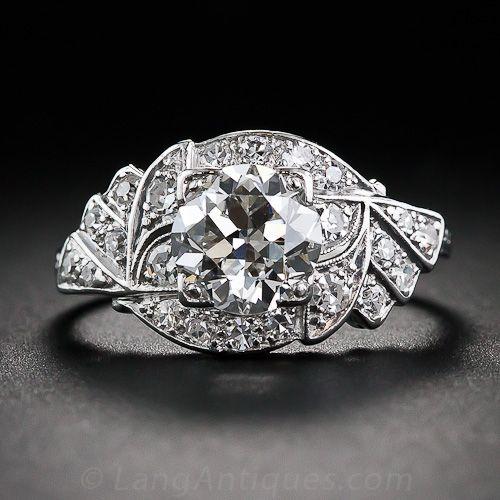 1.20 Carat Diamond Art Deco Platinum Engagement Ring - 10-1-6160 - Lang Antiques