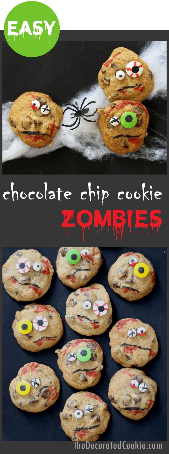 ZOMBIE chocolate chip cookies -- Halloween treat idea
