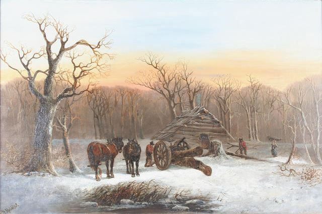 Winter scene with woodcutters and horses