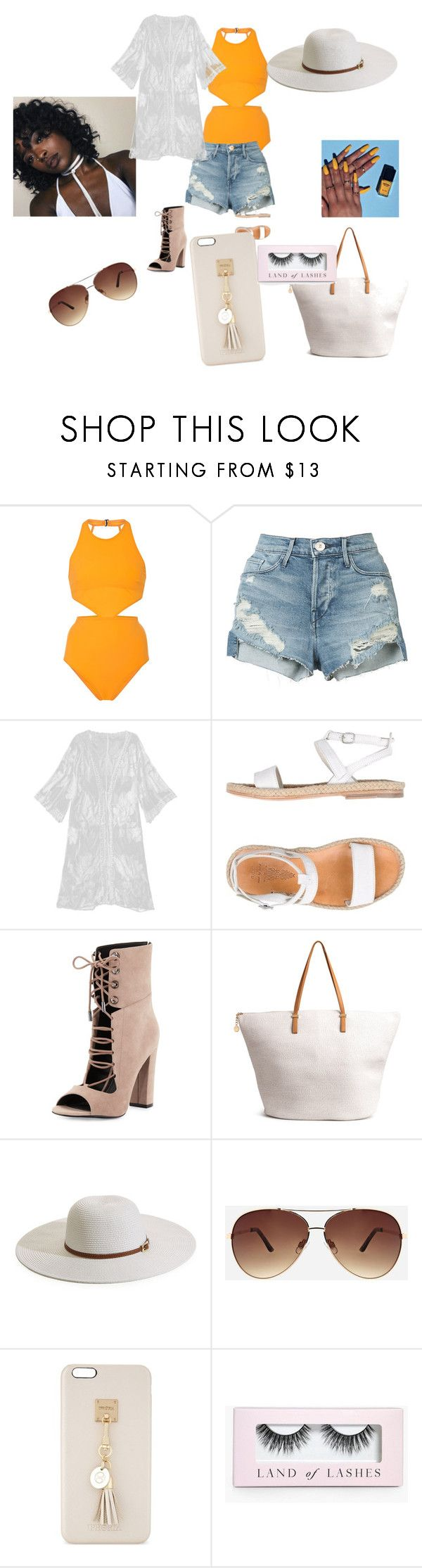 """A  lil melenin at the beach"" by ziyah-mesy on Polyvore featuring Flagpole, 3x1, n.d.c., Kendall + Kylie, H&M, Melissa Odabash, Ashley Stewart, Iphoria and Boohoo"