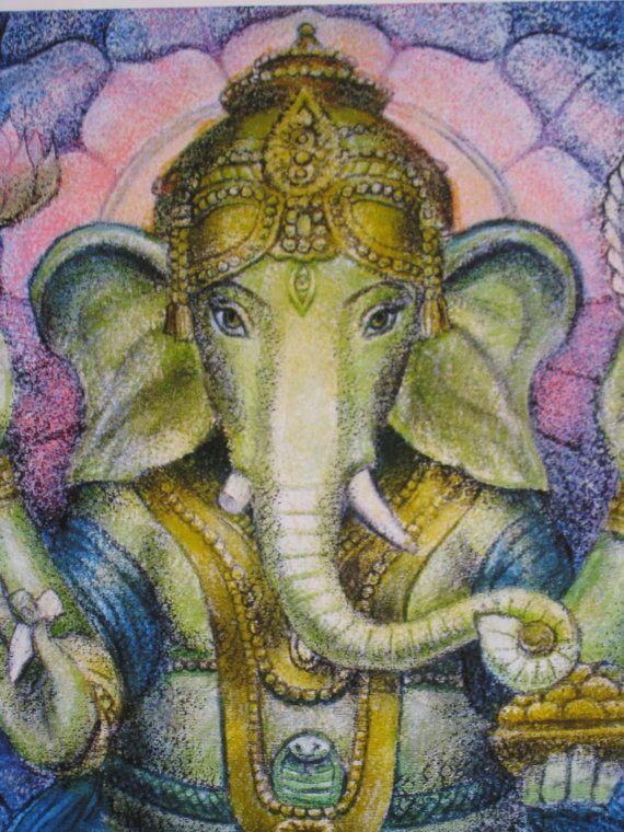 Lotus Ganesha spiritual art Hindu elephant by HalstenbergStudio, $24.95