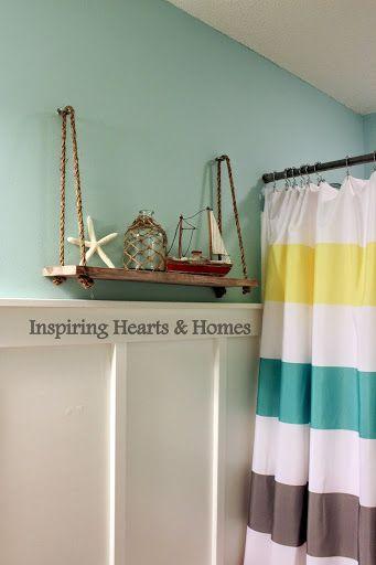 Hometalk :: Kids Beach Bathroom LOVE the little shelf!