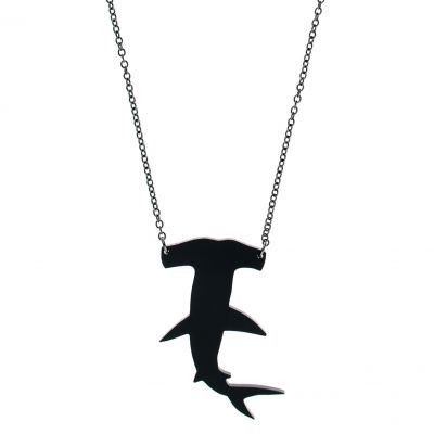 """Serve some under the sea realness with this shark necklace! Perfect to wear laying on the couch watching shark week.  Laser-cut from solid black acrylic 16"""""""