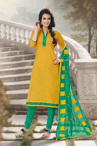 Yellow With Green Colour With Designer Dupatta Khadi Casual Suit