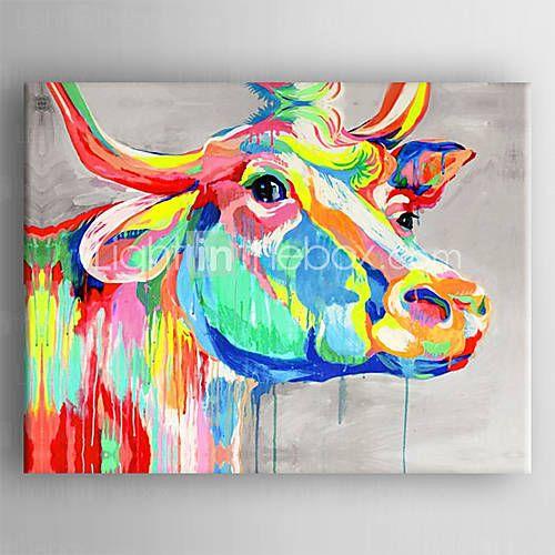 Peinture l 39 huile couleur vache t te peinte la main for Peinture a lhuile couleur argent