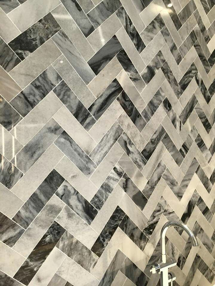 Close up of our marble feature wall tiles used in the bathroom
