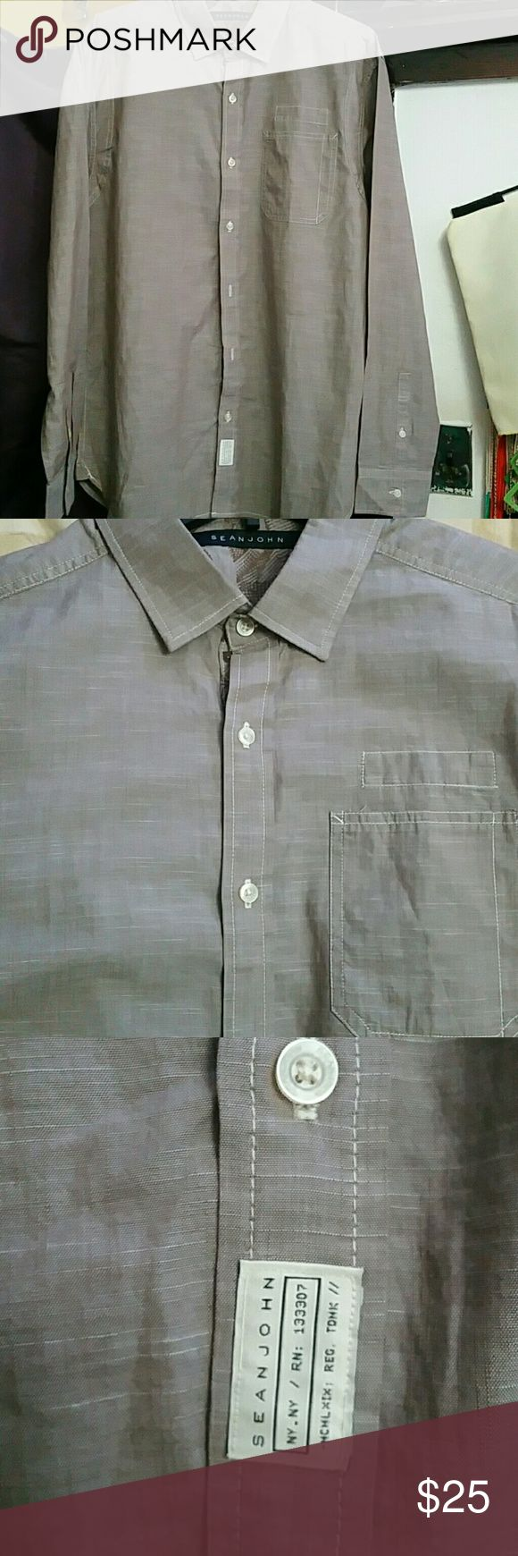Sean Jean button down shirt 100% cotton Mens Tailored fit long sleeve button down shirt. No imperfections. Size XL Sean John Shirts