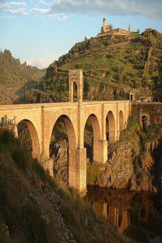 At the Alcántara Bridge in Spain.