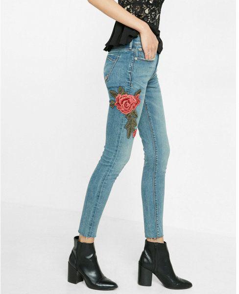 Express mid rise rose patch embellished ankle denim legging