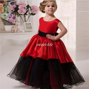 Lovely Black And Red Flower Girl Dresses for Wedding Ball Gown Tutu Crew Floor Length 2016 Cheap Little Girls Party Birthday Communion Gowns Online with $56.4/Piece on Sweet-life's Store | DHgate.com