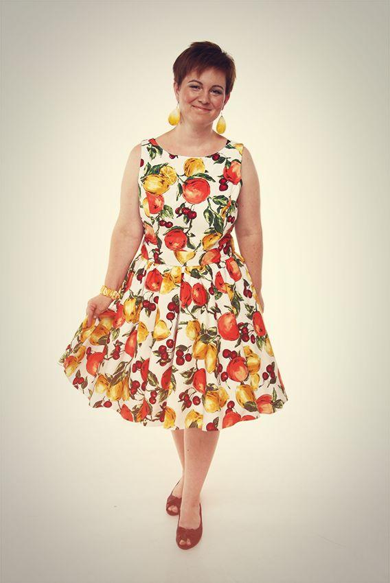 Gyümölcs mintás vintage ruha