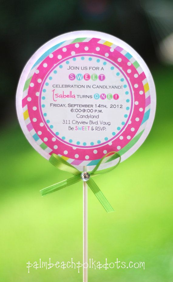 SWEET 16 or Quincinera Candyland Lollipop by palmbeachpolkadots