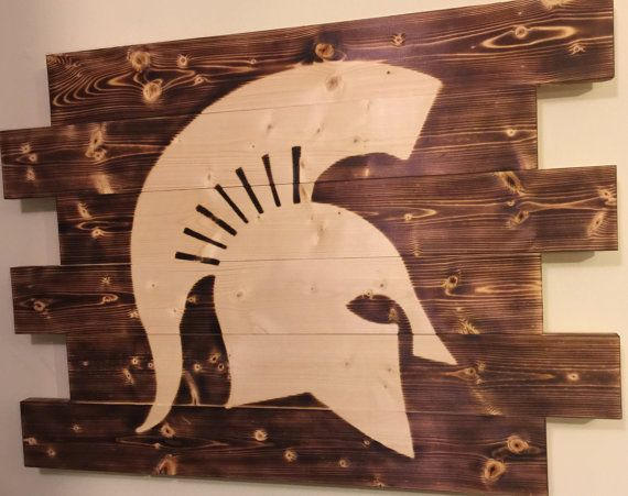 Charred wood sign. Michigan State Spartans Football. Measures 28x21