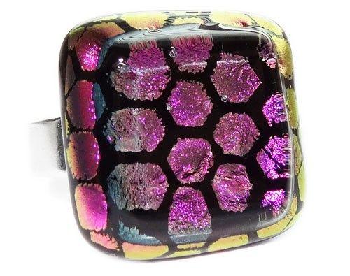 Handgemaakte paarse glazen ring! Verstelbare glazen ringen uit eigen atelier!