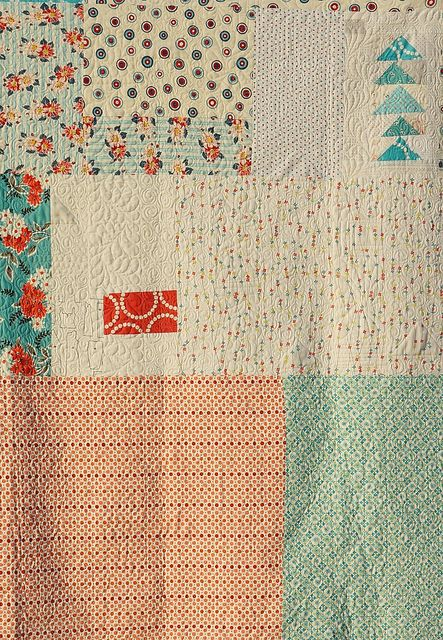 love this for quilt backing! quilt by Rachel @ 2nd Avenue Studio, via Flickr