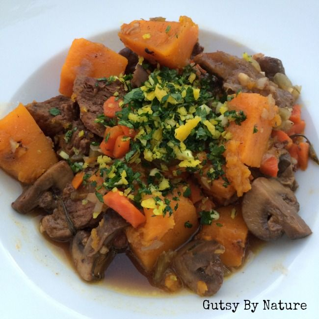 Grassfed on a Budget: Cinnamon Beef Stew with Butternut Squash and Mushrooms