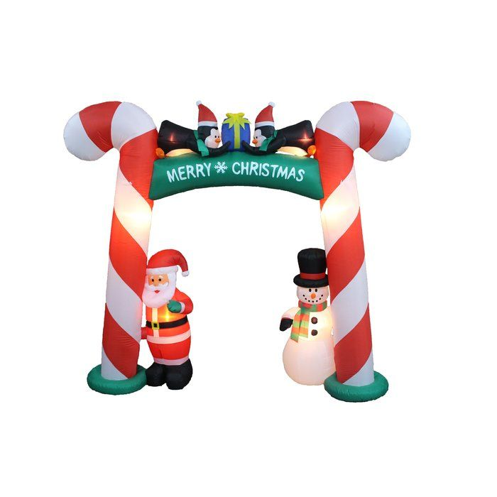 Christmas Candy Cane Arch With Santa Snowman And Penguins Inflatable Inflatable Christmas Decorations Outdoor Christmas Decorations Indoor Holiday Decor