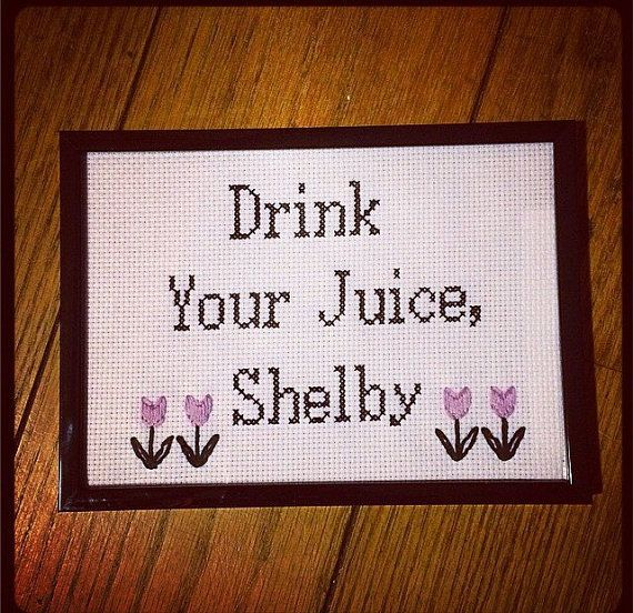 Not necessarily the cross stitch, but something like that over the mimosa bar!!!   Drink your juice Shelby by YoungGrannies on Etsy