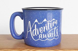 A mug to drink from while you're planning your next adventure.
