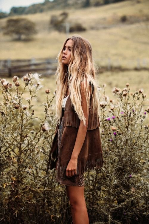 Brown Boho fringe west and levi's shorts - the perfect boho look.