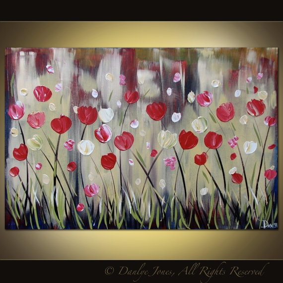 Original acrylic flower painting on canvas by danlyespaintings, $199.99