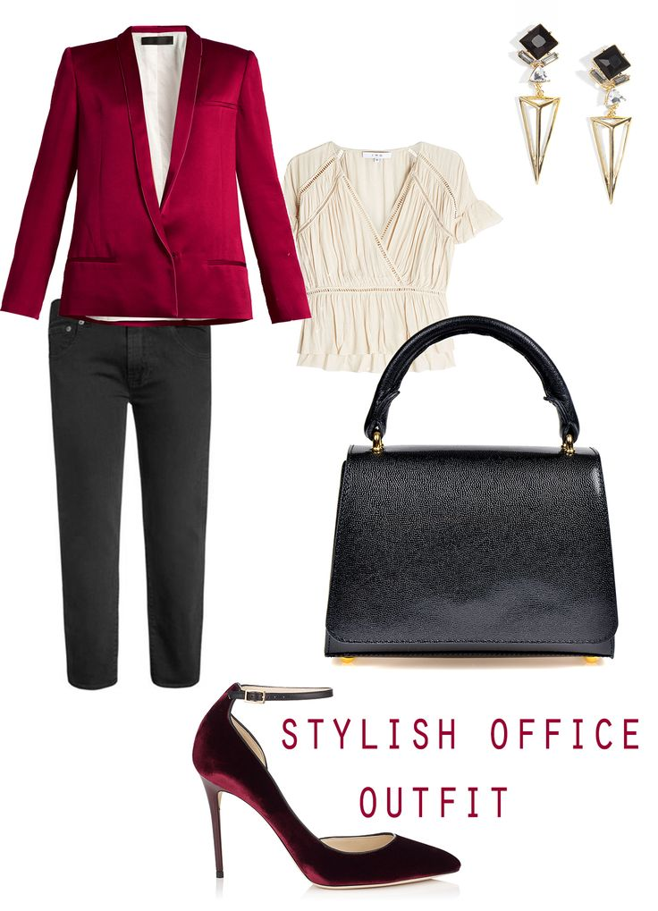 Getting ready for another ordinary day at work? Turn your office outfit into something spectacular by combining elegant shades of Bordeaux with the refined black of your accessories. This simple and stylish leather bag would go perfectly with such a hot office combo.