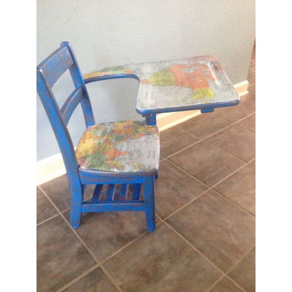 10 best painted student desks images on pinterest painted school this childs size desk is painted in blue and with maps of the world decorating it by the creative sharon allen gumiabroncs Gallery